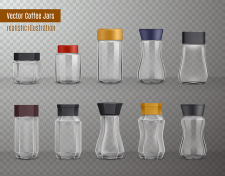 Instant coffee empty realistic various shape glass and plastic jars packaging collection on transparent background vector illustration Illustration