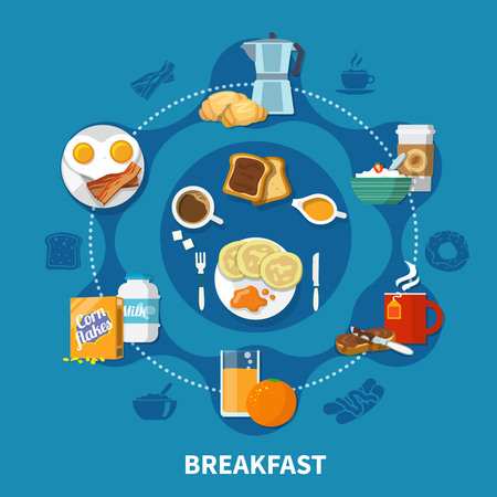 Variants of dishes and drinks for tasty breakfast colorful concept on blue background flat vector illustration Banco de Imagens - 97691672