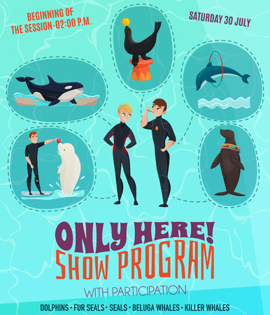 Dolphinarium show program poster with seals dolphins and whales symbols flat vector illustration Ilustracja
