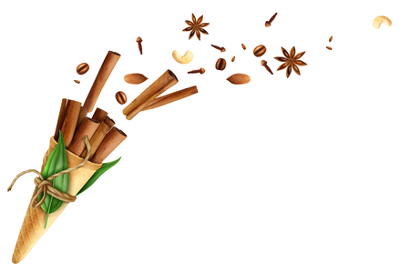 Cinnamon in waffle cone with rope, green leaves, flying spices including cloves, anise and nuts vector illustration.
