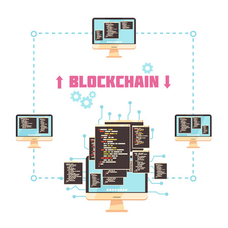 Block chain technology design concept showing communication between system customers involved in transaction process. Flat vector illustration. Illustration