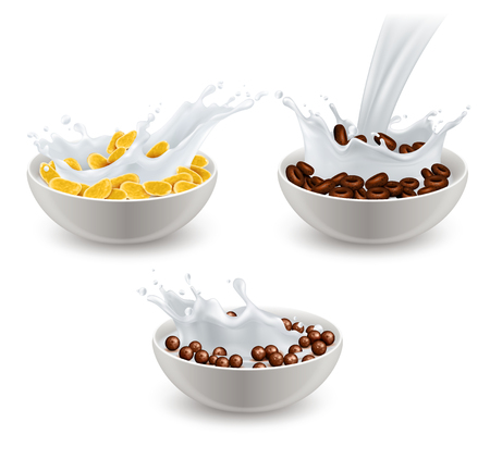 Set of realistic breakfast cereals in white ceramic bowls with splashes of milk isolated vector illustration Illustration