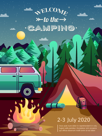 Camping site advertisement poster with recreational vehicle open fire tent in forest night sky Illustration