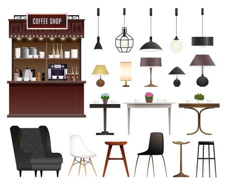 Cafe coffee shop interior details realistic set Vectores