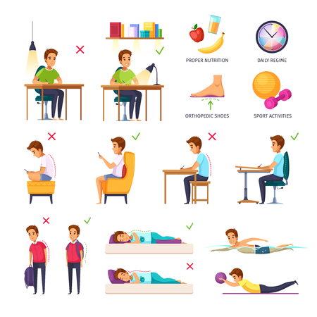 Children posture cartoon set of isolated conceptual images with flat human characters pictograms and text captions vector illustration