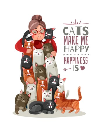 Lonely old lady hugs smiling cats, phrase about happiness and domestic animals vector illustration