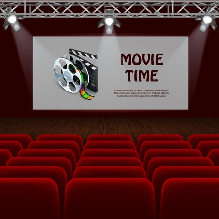 Movie time realistic background with big screen and empty seats in cinema vector illustration