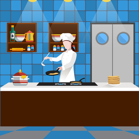 Cooking people composition with man who is cooking pancakes in the kitchen in a restaurant vector illustration