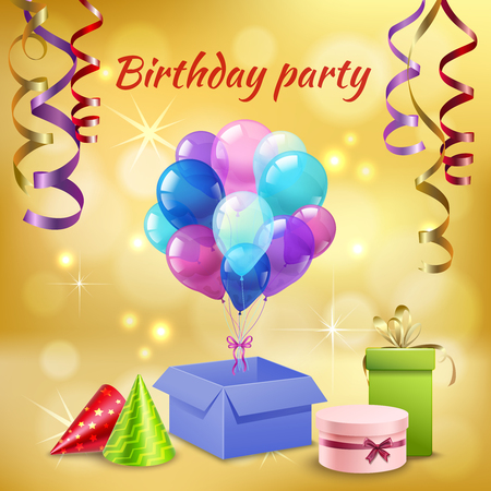 Birthday party celebration with glittering cone hats serpentine streamers balloons presents realistic invitation card poster vector illustration