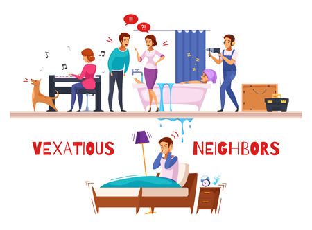 Neighbors relations cartoon composition with piano and drill sounds, family conflict, flooding, unhappy sleepless man vector illustration