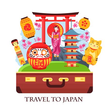 Japan travel concept colorful composition with antique suitcase gate geisha pagoda lanterns maneki neko cat vector illustration Illustration