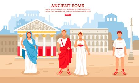 Altes flaches Zusammensetzungsplakat Roms mit Kaiserpaar- und plebejischen Bürgercharakteren und Pantheon in der Hintergrundvektorillustration Vektorgrafik