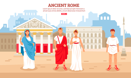 Ancient rome flat composition poster with imperial couple and plebeians citizens characters and pantheon in background vector illustration