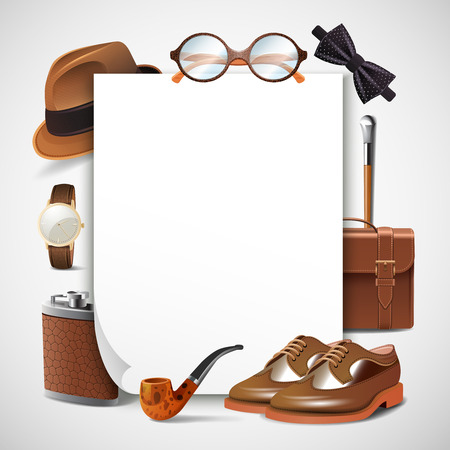 Retro gentleman accessories blank sheet paper frame with shoes briefcase glasses watch pipe hat realistic vector illustration