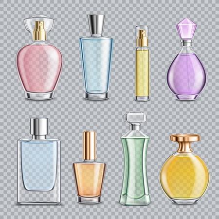 Conjunto de frascos de perfume con dispensador, elementos metálicos aislados en la ilustración de vector de fondo transparente