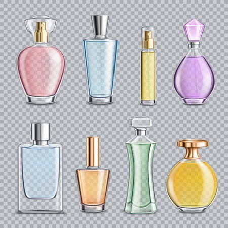 Set of perfume glass bottles with dispenser, metal elements isolated on transparent background vector illustration Vectores