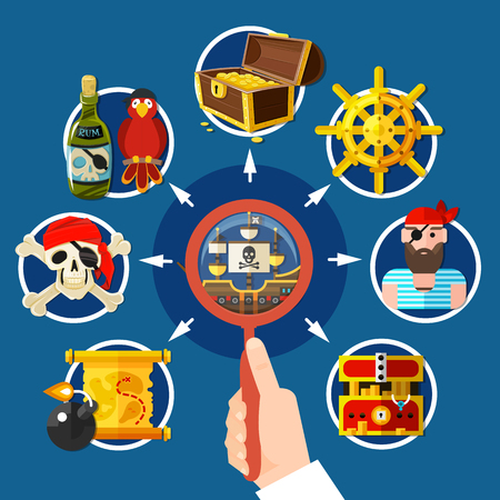 Piracy research cartoon composition with magnifier in hand, pirate attributes on dark blue background vector illustration
