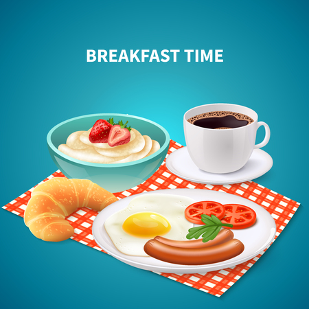 Realistic breakfast time background with porridge eggs sausages croissant and coffee on checked napkin vector illustration