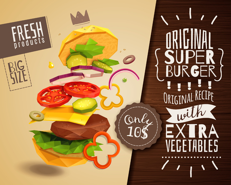 3D hamburger on beige background with beef patty and vegetables, horizontal poster with product advertising vector illustration