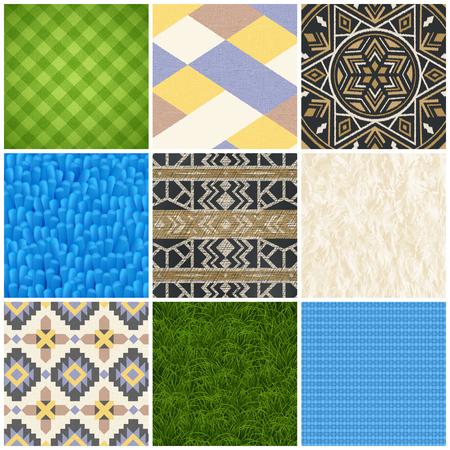 カーペットラグバスルームマット床カバーテクスチャとパターンデザイン9現実的なサンプルコレクション孤立ベクトルイラスト  イラスト・ベクター素材