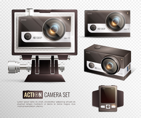 Action camera realistic transparent set with waterproof case isolated vector illustration