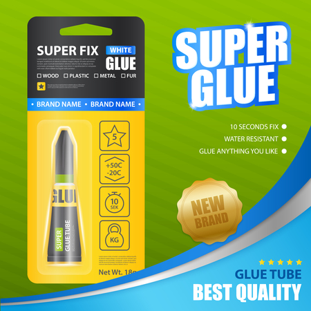 Super fix white glue realistic poster with advertising of brand name and best quality  vector illustration