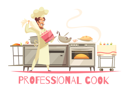 Professional cook during cake making composition on white background with kitchen equipment and culinary tools vector illustration