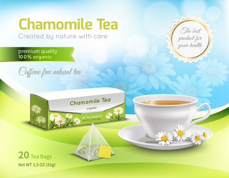 Chamomile tea advertising realistic composition on blue blurred background with flowers, carton packaging, white cup vector illustration.
