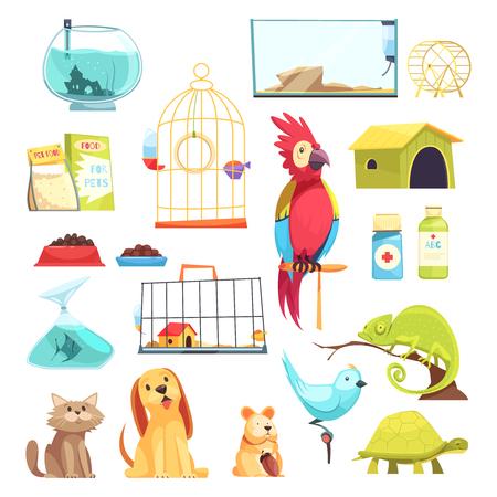 Animalerie sertie d'animaux domestiques, aliments secs, médicaments, cages et aquariums isolé illustration vectorielle