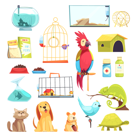 Pet shop set with domestic animals, dry feed, medicines, cages and aquariums isolated vector illustration Banque d'images - 97576952