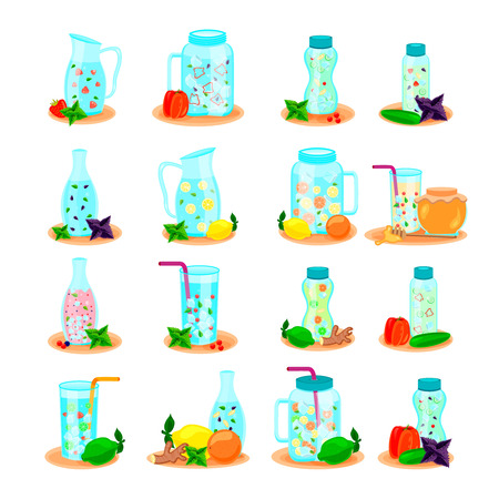 Detox water in drink bottles jar carafe. Flat icons collection with lemon honey mint isolated vector illustration. Vettoriali