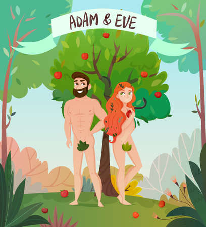 Bible story design with Adam and Eve symbols flat vector illustration Illustration