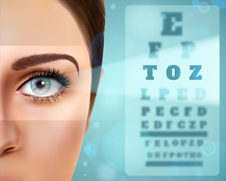 Vision realistic poster with female face, board with letter symbols for eye check vector illustration