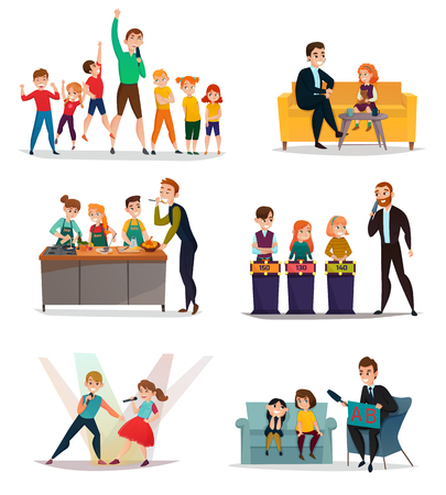 Kids TV show set with sport art and quiz symbols flat isolated vector illustration