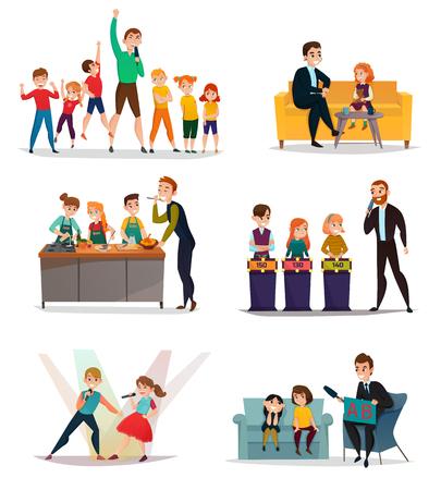 Program telewizyjny dla dzieci z symbolami sztuki sportowej i quizów płaskich na białym tle ilustracji wektorowych Ilustracje wektorowe