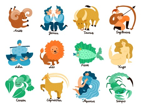 Set of hand drawn zodiac signs including leo, taurus, pisces, libra, gemini and virgo isolated vector illustration