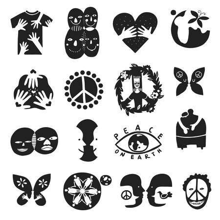 Set of monochrome international friendship symbols with peace sign, brother, children of earth, equality isolated vector illustration