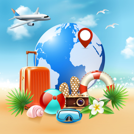 Colored summer holidays realistic composition with various elements symbolizing rest in the seaside resort vector illustration