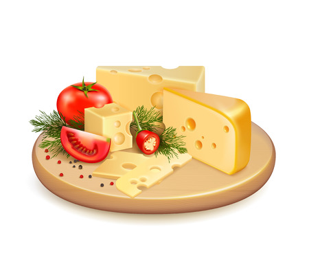 Cheese with vegetables, fresh greens and spice on wooden plate 3d composition on white background vector illustration
