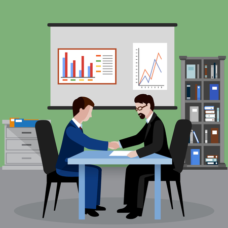 Two businessmen in office shaking hands human resources flat background vector illustration