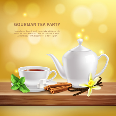 Teapot and cup with delicious hot tea with different herbs ans spices realistic background vector illustration