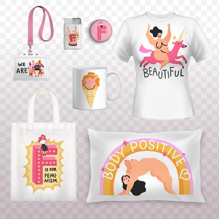 Identidad feminista positivo cuerpo femenino imprime elementos con camisa bolsa almohada insignia fondo transparente ilustración vectorial Foto de archivo - 97586717