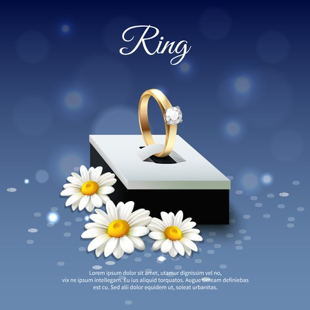 Colored daisy realistic composition with wedding ring in a blue gift box vector illustration Ilustração