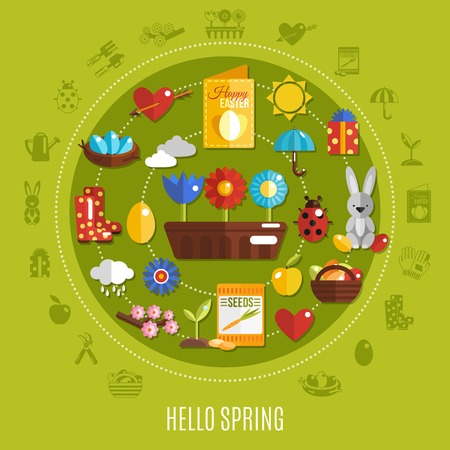 Bright colorful concept with various spring and easter holiday icons on green background flat vector illustration Illustration