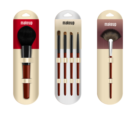 Makeup brushes package realistic collection of three isolated images with applicator brushes in showcase packages with text vector illustration