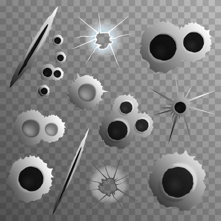 Bullet shot holes realistic set on transparent background with isolated shot bullet hole images of different size vector illustration