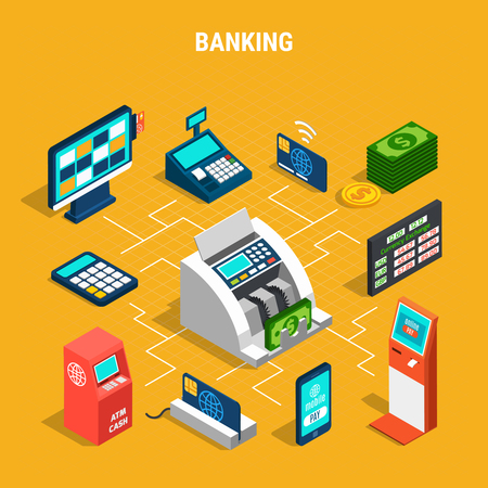 Banking operations isometric flowchart on yellow background with payment equipment, currency counter and money vector illustration Vettoriali