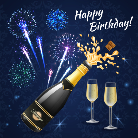 Fireworks composition of congratulatory inscription with images of champagne glasses bottle and colourful fireworks on ornate background vector illustration