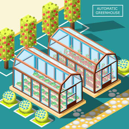 Agricultural robots isometric poster with two glass automatic greenhouses for growing organic vegetables and fruits vector illustration Ilustração
