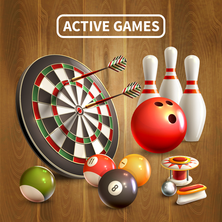 Games realistic concept with active games headlines and bowling darts billiards games attributes vector illustration